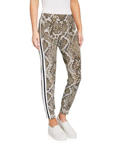 Python-Print Side Stripe Jogger Pants