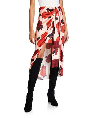 Emma Floral-Print Knot-Front Skirt