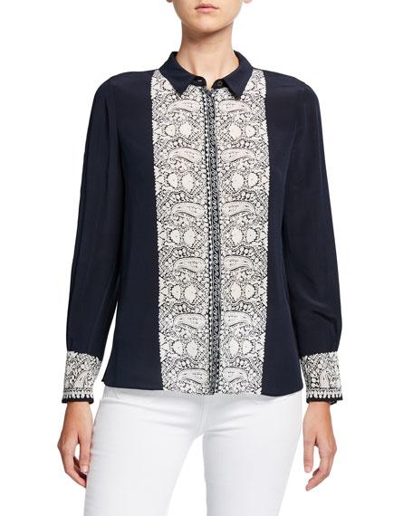Kobi Halperin Jude Button-Down Paisley Embroidered Silk Blouse