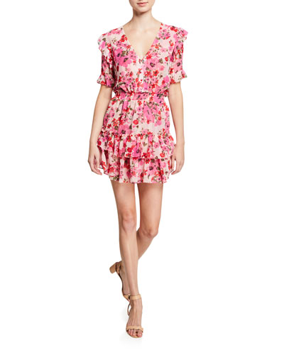 Devan Smocked Ruffle Floral-Print Dress