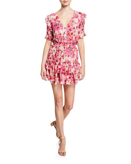 MISA Los Angeles Devan Smocked Ruffle Floral-Print Dress