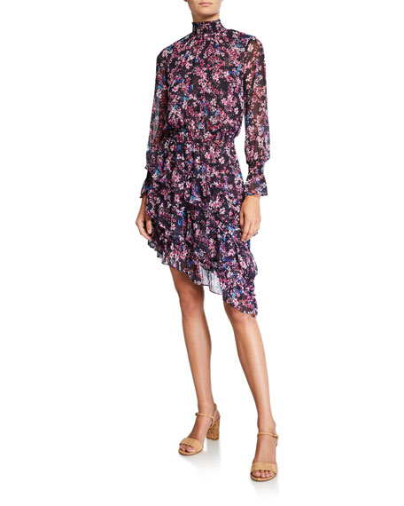MISA Los Angeles Savanna Smocked Floral High-Neck Asymmetrical Dress