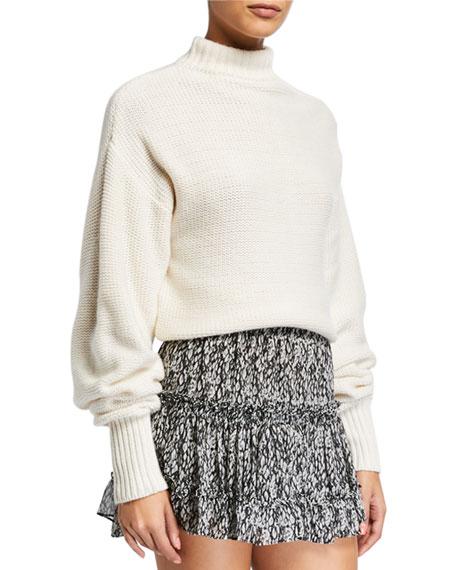 MISA Los Angeles Sanja Open-Shoulder High-Neck Sweater