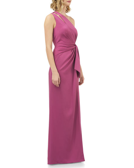 Kay Unger New York Emma Draped One-Shoulder Stretch Faille Gown w/ Twist Detail