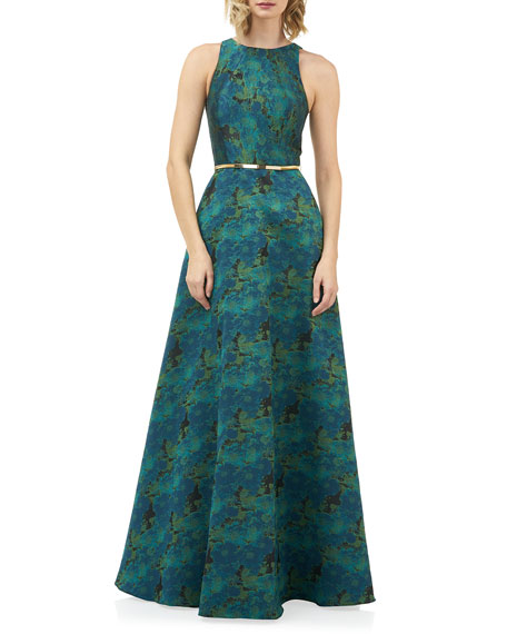 Kay Unger New York Charlotte Jewel-Neck Sleeveless Jacquard Gown with Belt