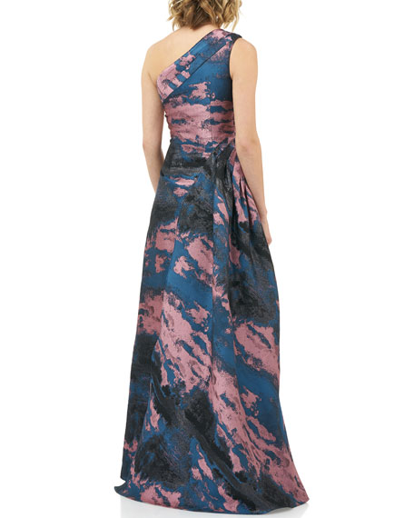 Kay Unger New York Noelle Abstract Jacquard One-Shoulder Gown w/ Side Drape