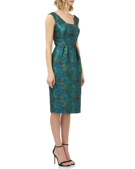 Image 2 of 4: Kay Unger New York Julia Printed Jacquard Sleeveless Cocktail Dress w/ Pegged Skirt