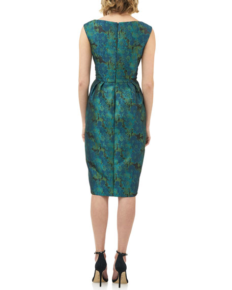 Image 3 of 4: Kay Unger New York Julia Printed Jacquard Sleeveless Cocktail Dress w/ Pegged Skirt