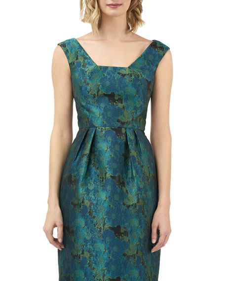 Image 4 of 4: Kay Unger New York Julia Printed Jacquard Sleeveless Cocktail Dress w/ Pegged Skirt