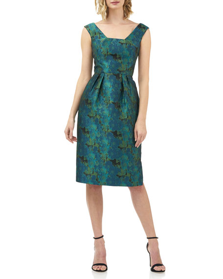 Image 1 of 4: Kay Unger New York Julia Printed Jacquard Sleeveless Cocktail Dress w/ Pegged Skirt