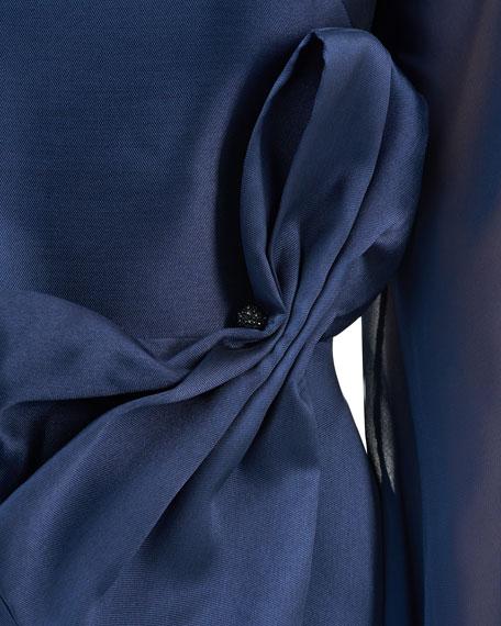 Kay Unger New York Jade Mikado Dress with Chiffon Blouson-Sleeves & 3D Bow Detail