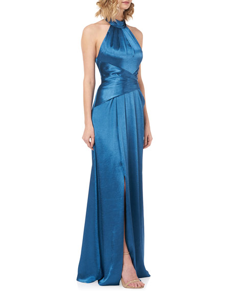 Kay Unger New York Simone Liquid Shine Halter Gown with Twist Front Waist