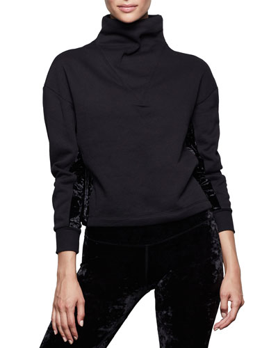 Funnel-Neck Structured Crop Pullover - Inclusive Sizing