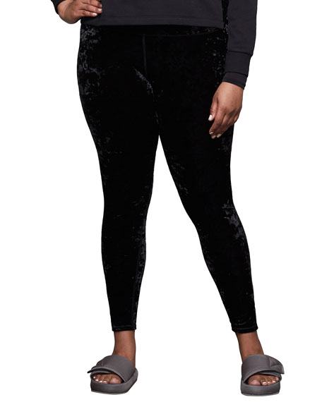 Good American Crushed Velvet High-Rise Leggings - Inclusive Sizing