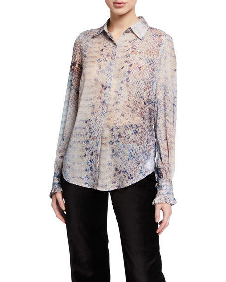 7 For All Mankind Ruffle-Cuff Button-Down Printed Top