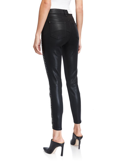 7 For All Mankind High-Waist Coated Ankle Skinny Jeans with Jeweled Stripes