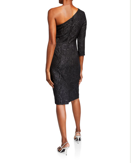 Rickie Freeman for Teri Jon Stretch Jacquard One-Shoulder Dress w/ Beaded Waist Applique