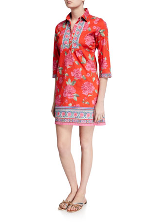 Bella Tu Peony Stretch Cotton 1/2-Sleeve Shirtdress