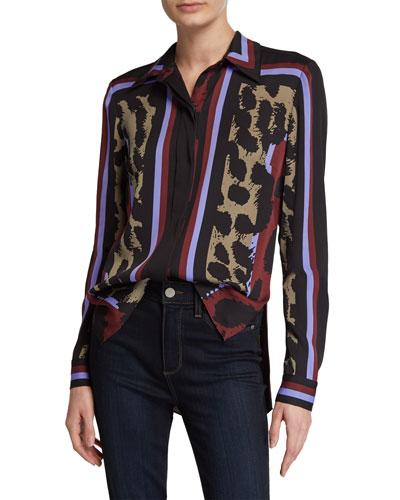 Mai Striped Leopard-Print Top