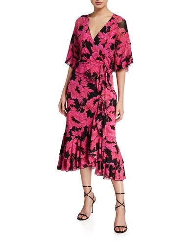 Zion Floral-Print Frill Wrap Dress