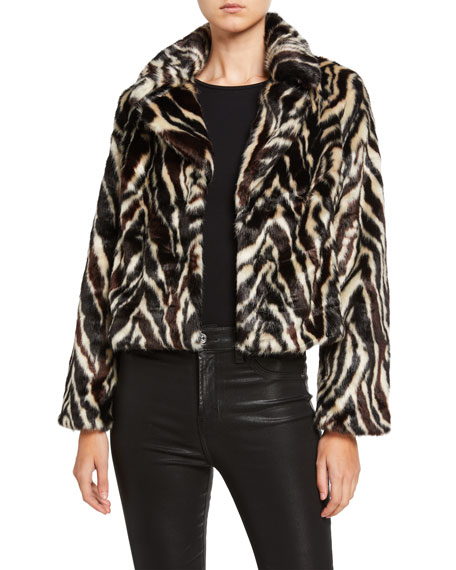 7 For All Mankind Zebra-Print Faux Fur Jacket