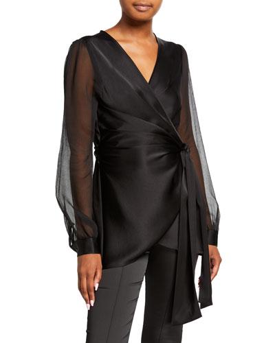 Klee Sheer-Sleeve Wrap Blouse