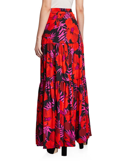 Veronica Beard Serence Floral-Print Tiered Skirt