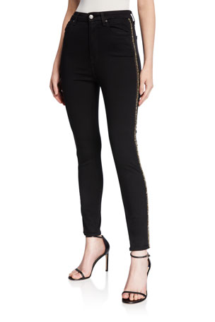 7 for all mankind Aubrey Caviar Side Panel Skinny Jeans