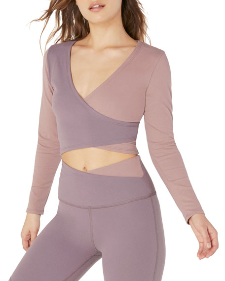 Beyond Yoga Graceland Colorblock Cropped Wrap Top