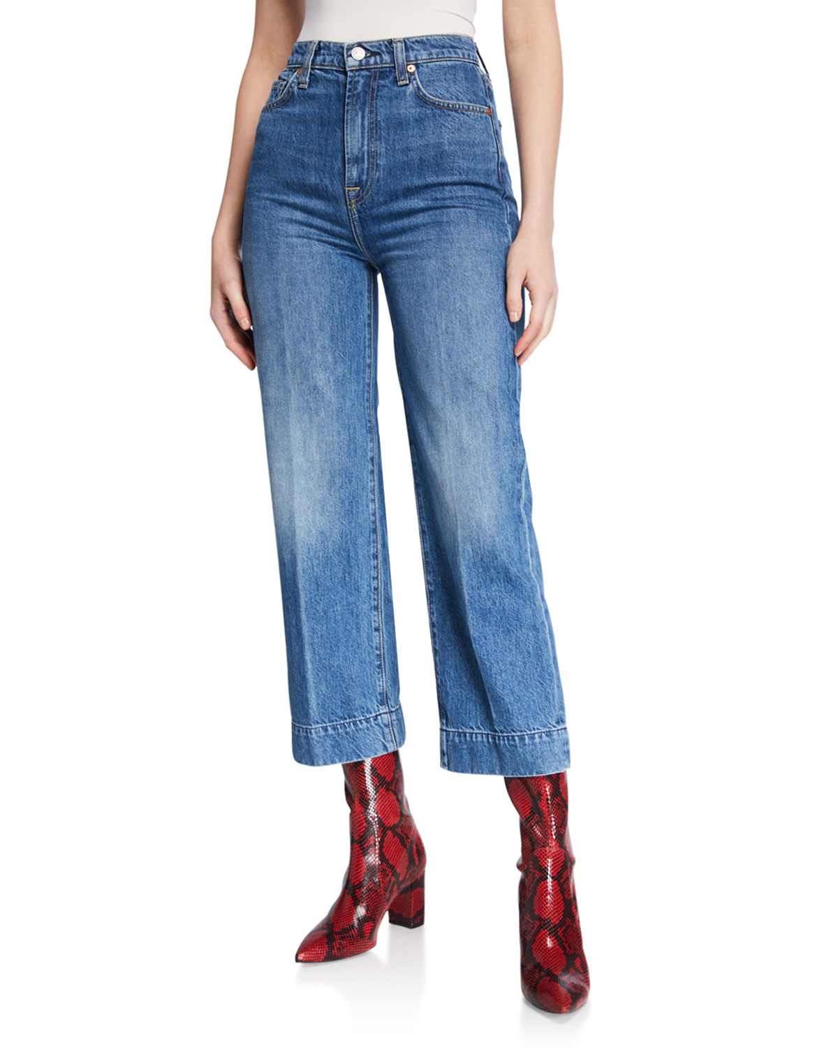 moneda Continuo Disfrazado  7 for all mankind Baby Jo High-Rise Wide-Leg Jeans | Neiman Marcus