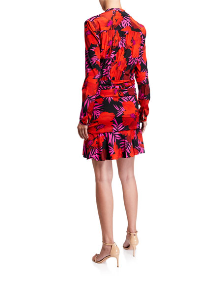 Image 2 of 2: Veronica Beard Lorina Floral-Print Tie-Front Dress