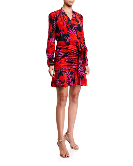 Image 1 of 2: Veronica Beard Lorina Floral-Print Tie-Front Dress