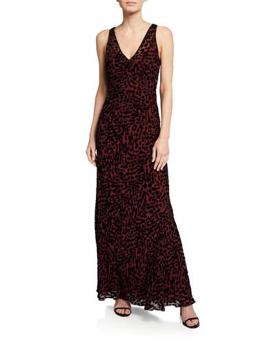 Clemine Sleeveless Leopard-Print Maxi Dress