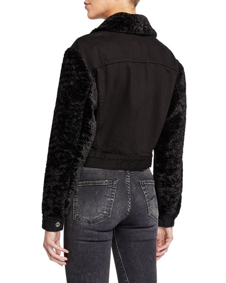 7 For All Mankind Snap-Front Denim Jacket w/ Faux Fur