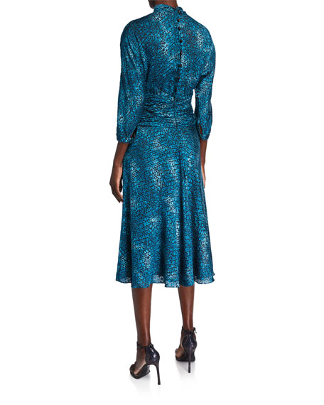 Rickie Freeman for Teri Jon Stained Glass Burnout Mock-Neck 3/4-Sleeve Draped Midi Dress
