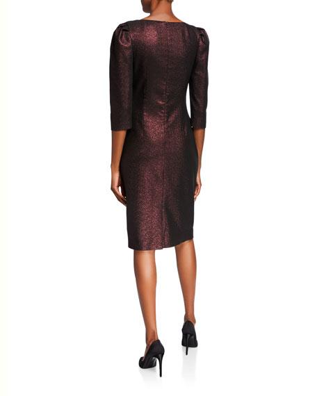 Rickie Freeman for Teri Jon Stretch Metallic 1/2-Sleeve Draped Surplice Dress