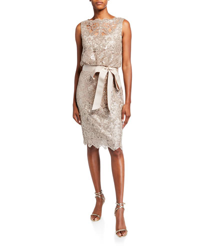 Sequin Lace Sleeveless Dress with Waist Tie
