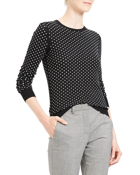 Theory Sweaters MINI POLKA DOT CREWNECK REGAL WOOL SWEATER