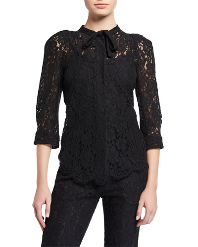 Touch Tie-Neck Lace Top