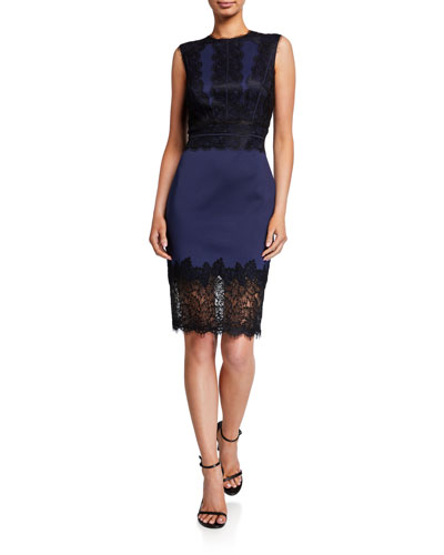 Sleeveless Neoprene & Lace Sheath Dress
