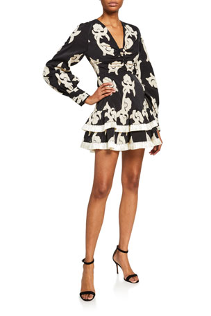 Alexis Rimini Printed Long-Sleeve Tiered Mini Dress