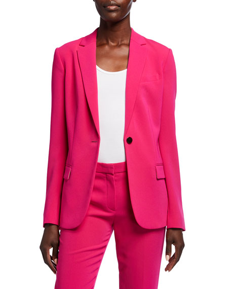Theory Admiral Crepe One-Button Staple Blazer