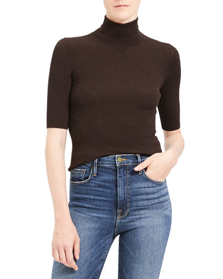 Theory Sweaters LEENDA SLIM REGAL WOOL ELBOW-SLEEVE TURTLENECK SWEATER