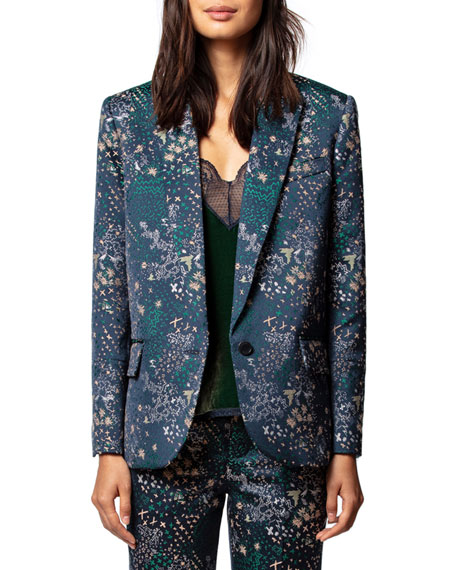 Zadig & Voltaire Viking Jacquard Glam Single-Button Jacket