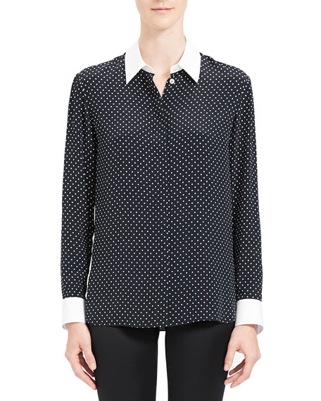 Image 2 of 4: Theory Polka Dot Combo Stretch Crepe Shirt