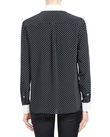 Image 3 of 4: Theory Polka Dot Combo Stretch Crepe Shirt