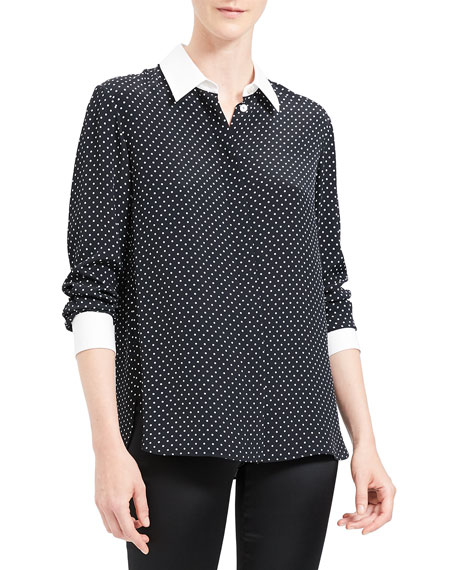 Image 4 of 4: Theory Polka Dot Combo Stretch Crepe Shirt