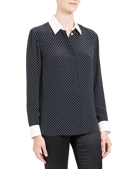 Image 1 of 4: Theory Polka Dot Combo Stretch Crepe Shirt