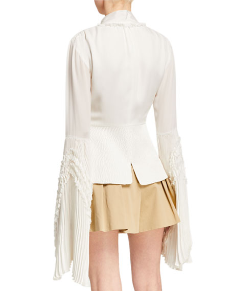 Alexis Sorrenta Tie-Neck Top with Pleated Sleeves