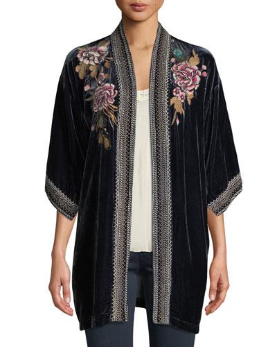 Quito Floral-Embroidered Velvet Kimono w/ Border Stitching